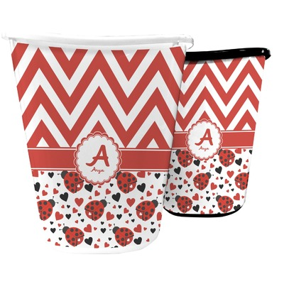Ladybugs & Chevron Waste Basket (Personalized)