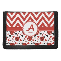 Ladybugs & Chevron Trifold Wallet (Personalized)