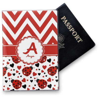 Ladybugs & Chevron Vinyl Passport Holder (Personalized)