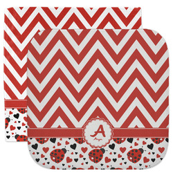 Ladybugs & Chevron Facecloth / Wash Cloth (Personalized)