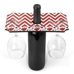Ladybugs & Chevron Wine Bottle & Glass Holder (Personalized)