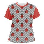 Ladybugs & Chevron Women's Crew T-Shirt (Personalized)