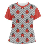 Ladybugs & Chevron Women's Crew T-Shirt (Personalized)