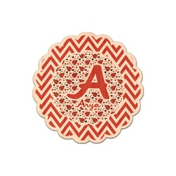 Ladybugs & Chevron Genuine Maple or Cherry Wood Sticker (Personalized)