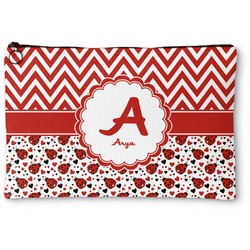 Ladybugs & Chevron Zipper Pouch (Personalized)