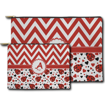 Ladybugs & Chevron Zipper Pouch (Personalized)