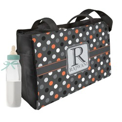 Gray Dots Diaper Bag w/ Name and Initial