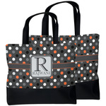 Gray Dots Beach Tote Bag (Personalized)