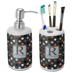 Gray Dots Bathroom Accessories Set (Ceramic) (Personalized)