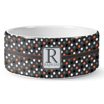 Gray Dots Ceramic Dog Bowl (Personalized)
