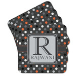 Gray Dots Cork Coaster - Set of 4 w/ Name and Initial