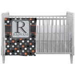 Gray Dots Crib Comforter / Quilt (Personalized)