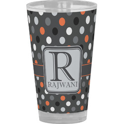 Gray Dots Drinking / Pint Glass (Personalized)