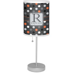 """Gray Dots 7"""" Drum Lamp with Shade Linen (Personalized)"""
