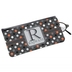 Gray Dots Genuine Leather Eyeglass Case (Personalized)