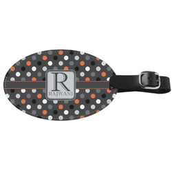 Gray Dots Genuine Leather Oval Luggage Tag (Personalized)