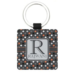 Gray Dots Genuine Leather Rectangular Keychain (Personalized)