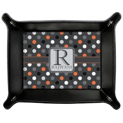 Gray Dots Genuine Leather Valet Tray (Personalized)