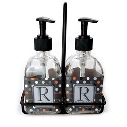 Gray Dots Soap & Lotion Dispenser Set (Glass) (Personalized)