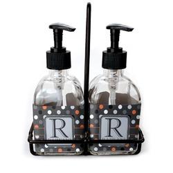 Gray Dots Soap & Lotion Dispenser Set (Glass) (Personalized)