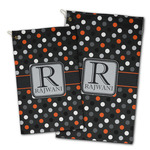 Gray Dots Golf Towel - Full Print w/ Name and Initial