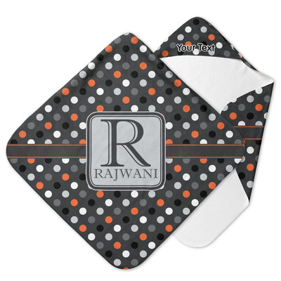 Gray Dots Hooded Baby Towel (Personalized)