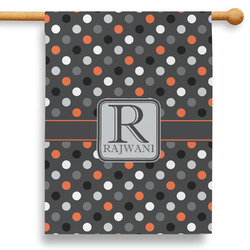 """Gray Dots 28"""" House Flag - Double Sided (Personalized)"""