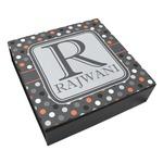 Gray Dots Leatherette Keepsake Box - 3 Sizes (Personalized)