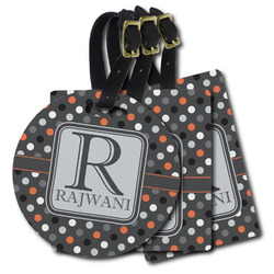 Gray Dots Plastic Luggage Tags (Personalized)