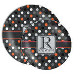 Gray Dots Melamine Plate (Personalized)