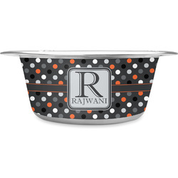 Gray Dots Stainless Steel Pet Bowl (Personalized)