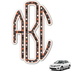 Gray Dots Monogram Car Decal (Personalized)