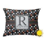 Gray Dots Outdoor Throw Pillow (Rectangular) (Personalized)