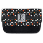 Gray Dots Canvas Pencil Case w/ Name and Initial