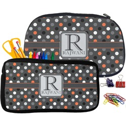 Gray Dots Pencil / School Supplies Bag (Personalized)