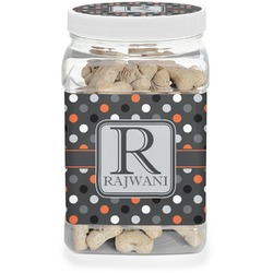 Gray Dots Dog Treat Jar (Personalized)