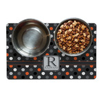Gray Dots Dog Food Mat (Personalized)