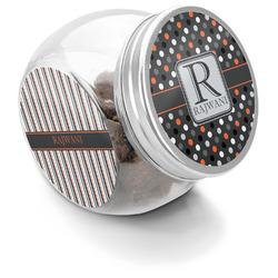 Gray Dots Puppy Treat Jar (Personalized)
