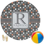 Gray Dots Round Beach Towel (Personalized)