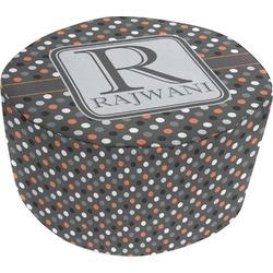 Gray Dots Round Pouf Ottoman (Personalized)