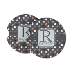 Gray Dots Sandstone Car Coasters (Personalized)