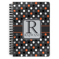 Gray Dots Spiral Bound Notebook (Personalized)
