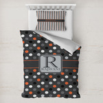 Gray Dots Toddler Bedding w/ Name and Initial