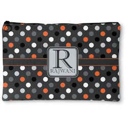 """Gray Dots Zipper Pouch - Small - 8.5""""x6"""" (Personalized)"""