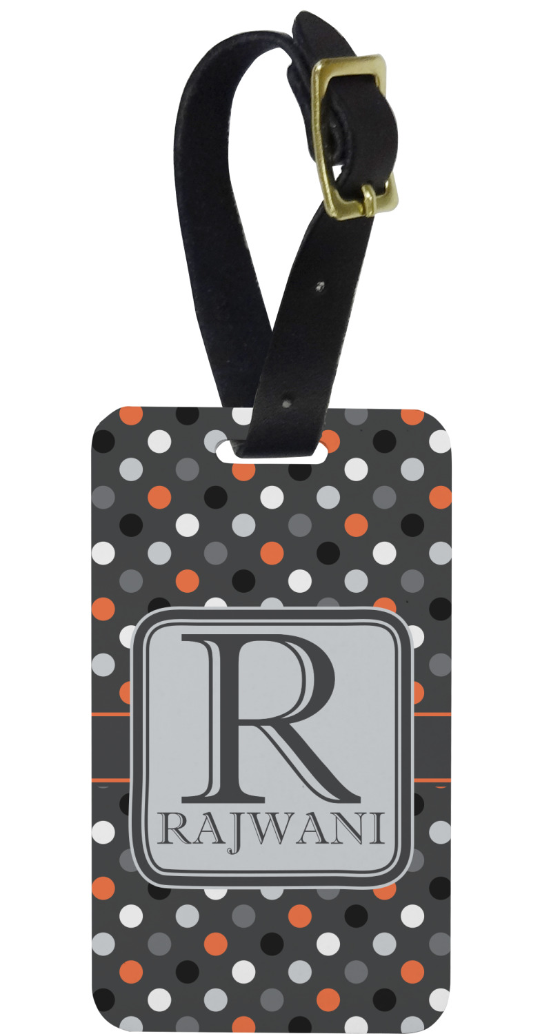 Gray Dots Aluminum Luggage Tag Personalized Youcustomizeit