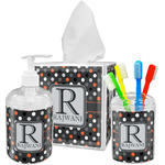 Gray Dots Acrylic Bathroom Accessories Set w/ Name and Initial
