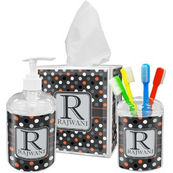Gray Dots Bathroom Accessories Set (Personalized)