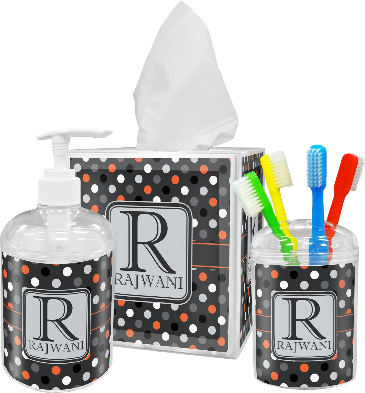 Gray dots bathroom accessories set personalized for Gray bathroom accessories set