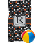 Gray Dots Beach Towel (Personalized)