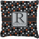 Gray Dots Faux-Linen Throw Pillow (Personalized)